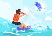 夏季冲浪矢量插画图片