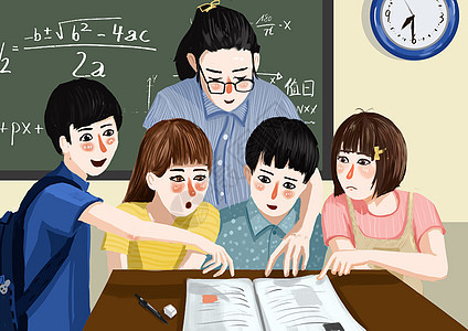 开学季和老师讨论问题图片