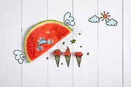 夏日清新创意摄影插画图片