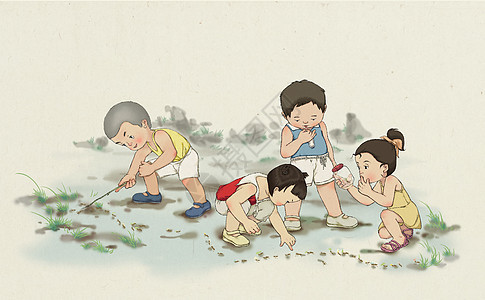 童趣数蚂蚁图片