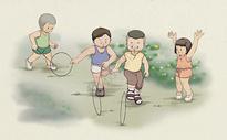 童趣滚铁环图片