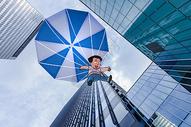 降落伞创意摄影插画图片