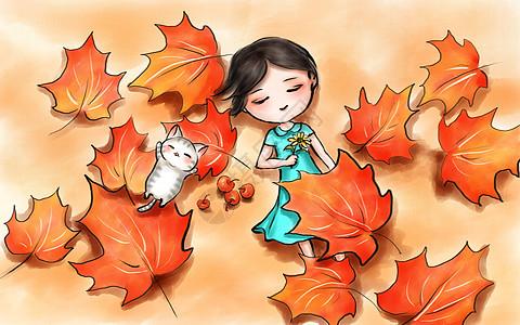 中国风立秋手绘插画图片