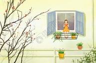 夏季女孩吃西瓜插画图片