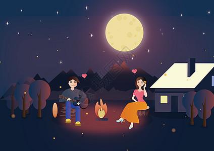 月下爱情图片