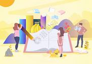 阅读书籍矢量插画图片