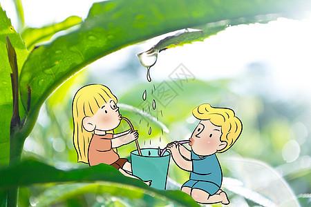 小可爱们清晨喝露水图片