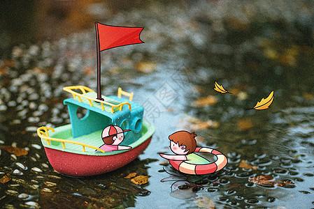 出发航海创意摄影插画图片