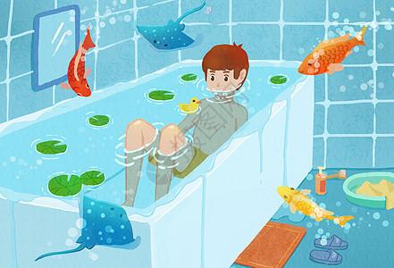 在浴缸里泡澡的男孩图片
