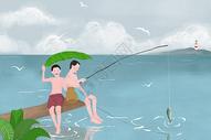 夏季钓鱼图片