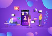 手机智能生活立体插画图片