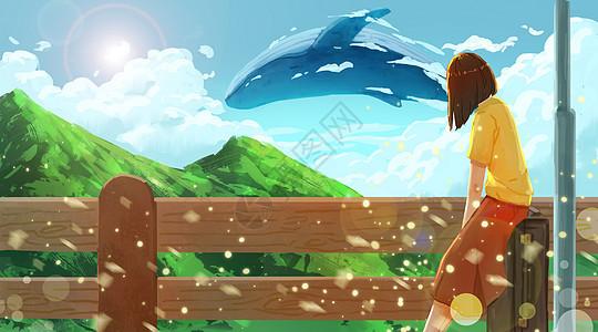 旅行途中与鲸鱼邂逅的女孩图片