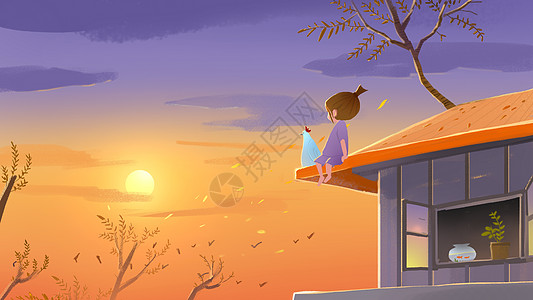 秋天的夕阳图片