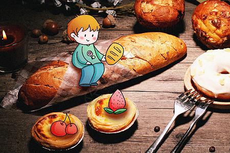 吃面包的小男孩创意摄影插画图片