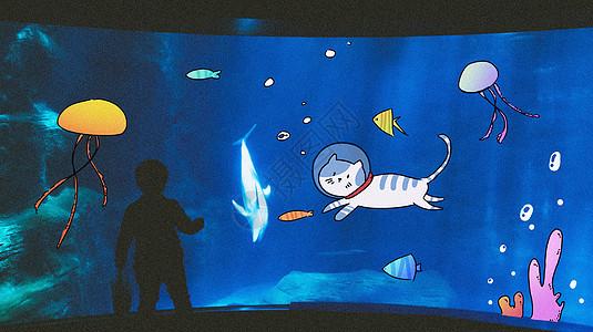 小猫抓鱼创意摄影插画图片