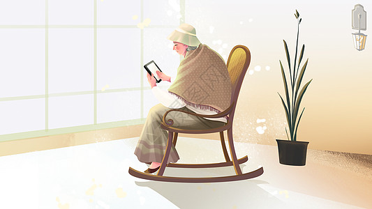 老人晚年温馨插画图片