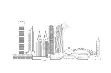 重庆地标都市线稿图片