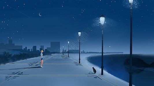 夜晚的路灯图片