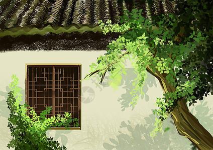 庭院手绘图片