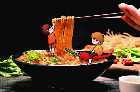 吃粉条创意摄影插画图片