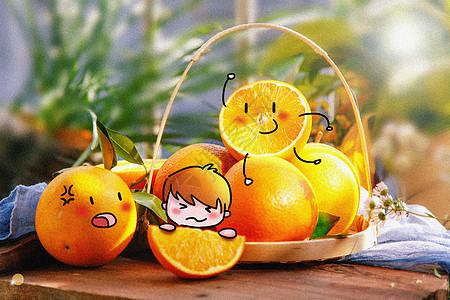 吃橙子创意摄影插画图片