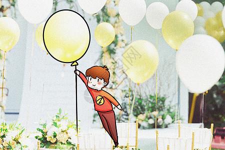 飘舞的气球创意摄影插画图片