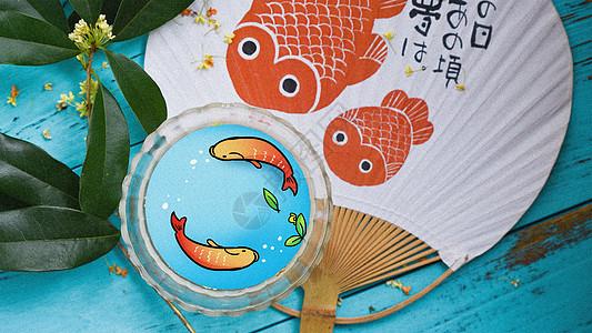 碗中鱼创意摄影插画图片