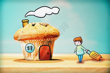 蛋糕小房子创意摄影插画图片