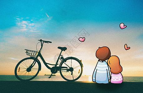 看日出的情侣创意摄影插画图片