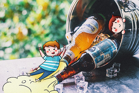 啤酒狂欢创意摄影插画图片
