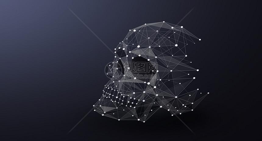 骷颅头线条科技图片