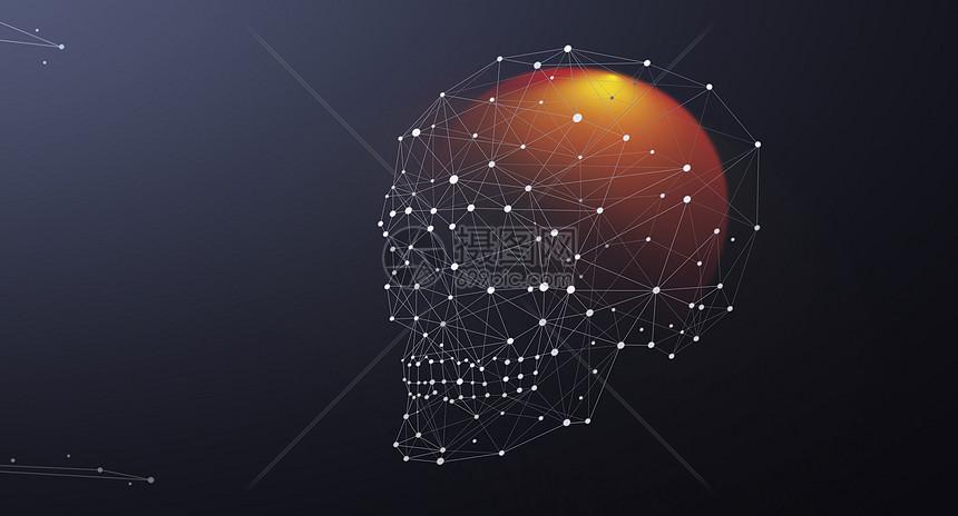 骷颅头线条科技背景图片