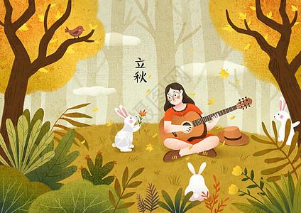 梧桐树树林立秋风景图片