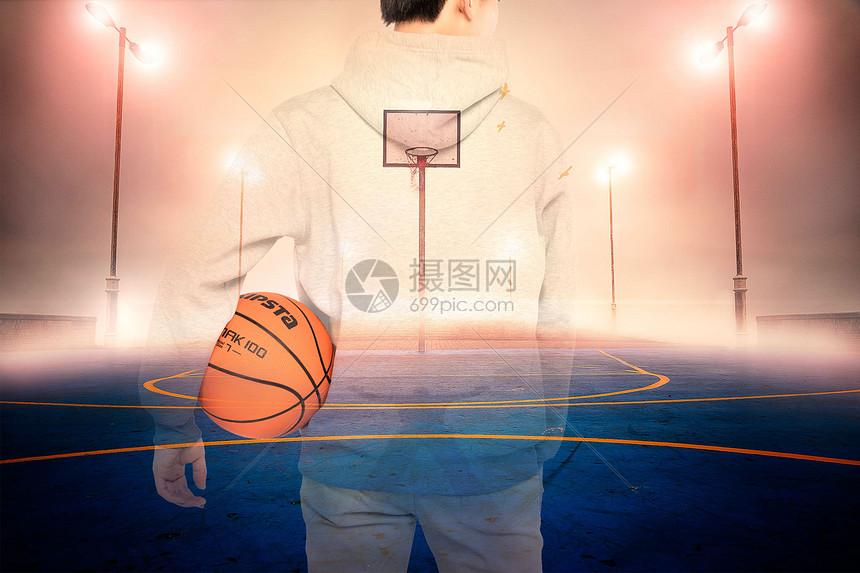 炫酷篮球透视背影图片