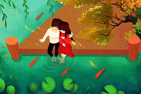 池塘边的情侣图片