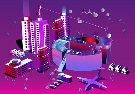 未来城市商务办公立体插画图片