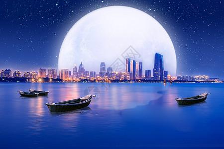 中秋城市夜晚图片