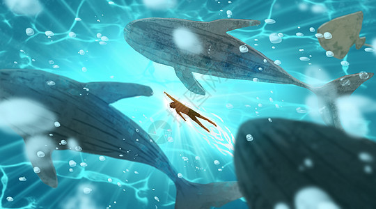 深海鲸鱼群图片