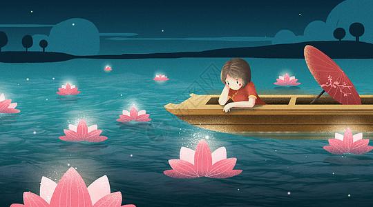 女孩中元节乘船放河灯插画图片