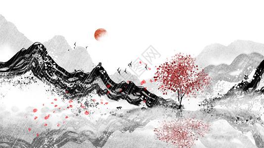 中国风水墨山水背景插画图片