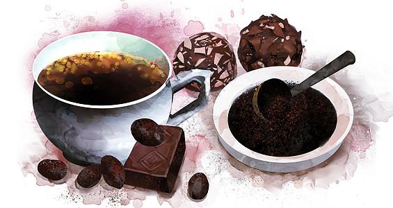 咖啡巧克力插画图片