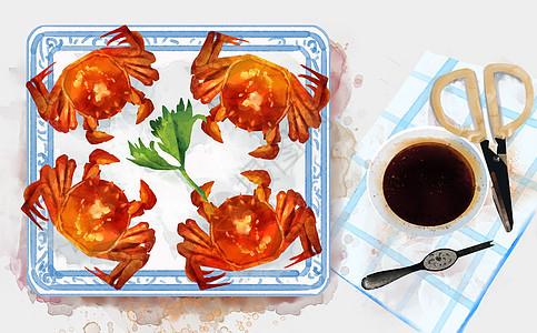 大闸蟹插画图片
