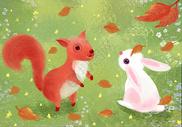 秋天田野的动物线圈画图片