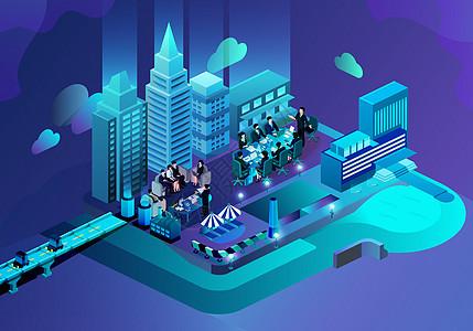城市商务办公矢量立体插画图片
