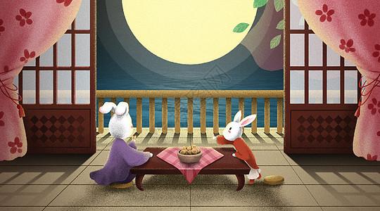 中秋节兔子团圆赏月插画图片
