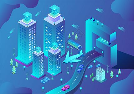 商务办公城市立体插画图片
