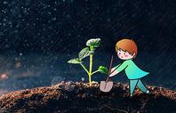 植树创意摄影插画图片