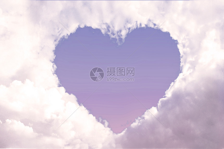 唯美爱心云朵图片