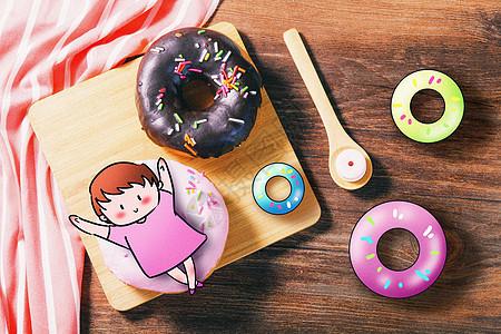 甜甜圈小女孩创意摄影插画图片