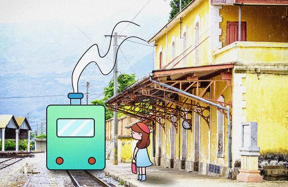 等火车的女孩创意摄影插画图片